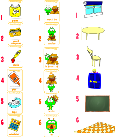 New Game for Classroom Objects & Prepositions!